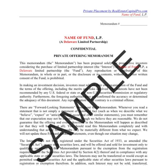 Multifamily investment fund placement memorandum cru arch investments nashville